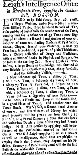 Oct 13 - Massachusetts Gazette Draper Slavery 1