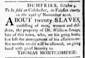 Oct 13 - Virginia Gazette Rind Slavery 1