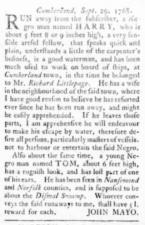 Oct 13 - Virginia Gazette Rind Slavery 4