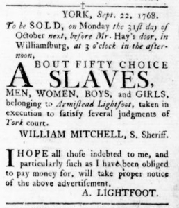 Oct 13 - Virginia Gazette Rind Slavery 6