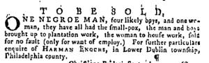 Oct 6 - Pennsylvania Gazette Supplement Slavery 1
