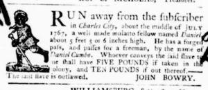 Oct 6 - Virginia Gazette Purdie and Dixon Slavery 4
