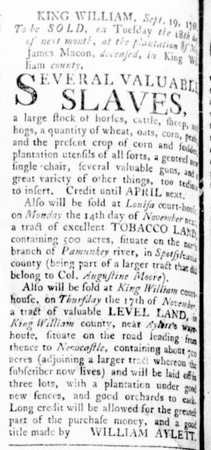 Oct 6 - Virginia Gazette Rind Slavery 1
