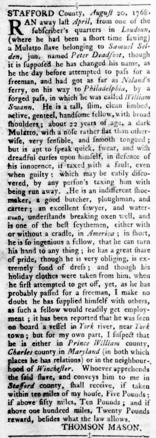 Oct 6 - Virginia Gazette Rind Slavery 10