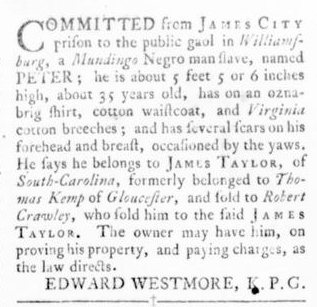Oct 6 - Virginia Gazette Rind Slavery 13