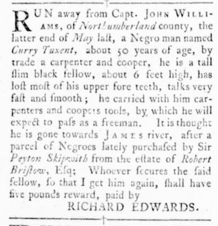 Oct 6 - Virginia Gazette Rind Slavery 14
