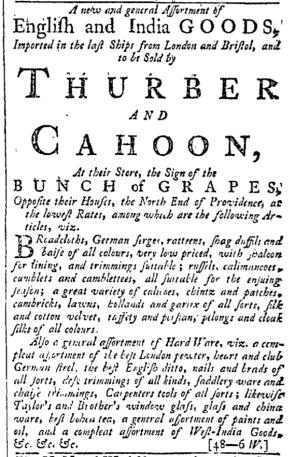Oct 8 - 10:8:1768 Providence Gazette
